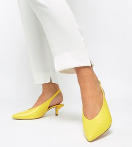 Read more about Coco wren wide fit pointed kitten heels - yellow