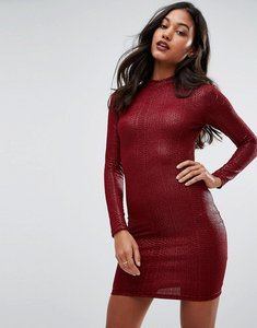 Read more about Ax paris animal texture long sleeve bodycon dress - wine
