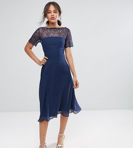 Read more about Asos tall lace insert panelled midi dress - navy