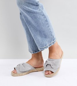 Read more about Park lane suede bow espadrille sliders - grey
