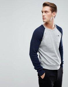 Read more about Brave soul textured raglan pocket sweatshirt - grey