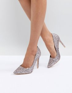 Read more about Public desire debbie light pink glitter court shoes - light pink glitter
