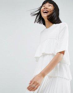 Read more about Asos white satin and tulle mini dress - white