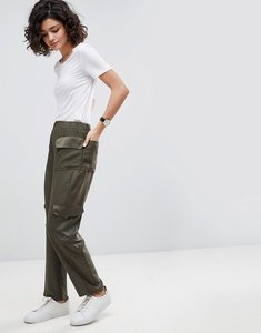 Read more about Asos tailored matte and shine soft utilty pant - khaki