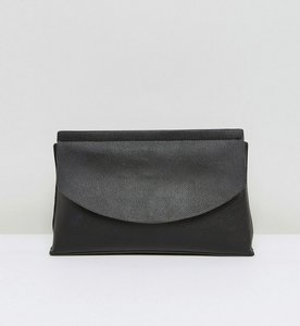 Read more about Asos curved flap clutch bag - black