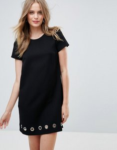 Read more about French connection sundae suiting eyelet hem shift dress - black