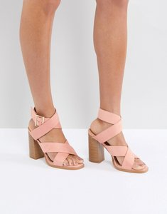 Read more about Raid abree pink block heeled sandals - dusty pink suede