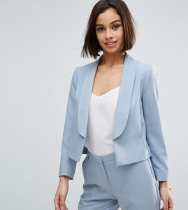 Read more about Asos petite crop crepe blazer - ice blue