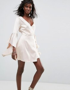 Read more about Majorelle hex satin flute sleeve dress - ritual