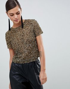 Read more about Asos design t-shirt with sequin embellishment - khaki green