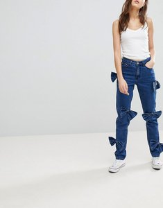 Read more about Glamorous jeans with bow details - mid blue