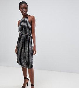 Read more about Warehouse halter neck midi dress in metallic stripe