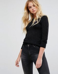 Read more about Polo ralph lauren cable knit crew neck jumper - black