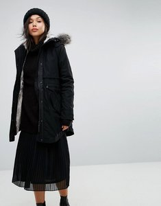 Read more about Parka london classic parka with faux fur lined hood - black