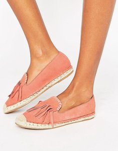 Read more about Glamorous fringe suede espadrilles - coral pink suede