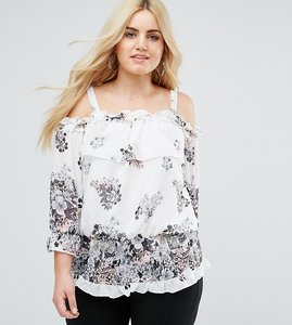 Read more about Lovedrobe floral print ruffle detail cold shoulder blouse - multi