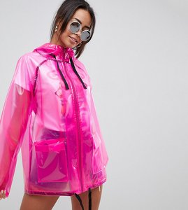 Read more about Asos design tall rain jacket with contrast binding - pink