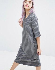 Read more about Monki varsity stripe dress - grey