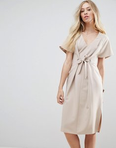 Read more about Asos v neck column midi dress with eyelet and tie - mink