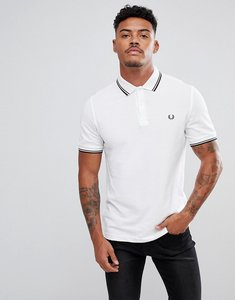 Read more about Fred perry slim fit twin tipped polo shirt in white - f28