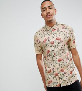 Read more about Asos design tall regular fit floral satin shirt in off white - ecru
