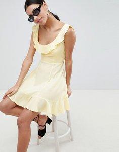 Read more about Asos mini ruffle skater dress - lemon