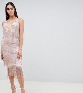 Read more about Asos tall square neck plunge fringe bodycon dress - nude