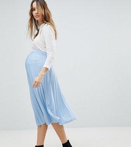 Read more about Asos maternity pleated midi skirt - blue