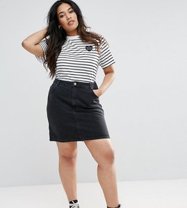 Read more about Asos curve denim original high waisted skirt in washed black - black