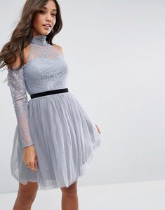 Read more about Asos premium tulle cold shoulder mini prom dress - grey