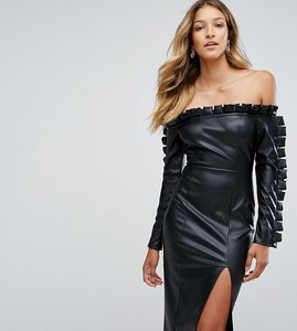 Read more about Missguided leather look ruffle bardot pencil dress - black