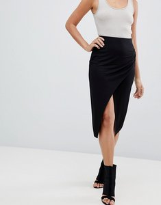 Read more about Asos design wrap midi skirt with split and ruching - black