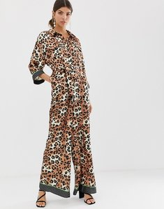 Read more about Liquorish wide leg jumpsuit in leopard print with neon green contrast