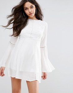 Read more about Prettylittlething crochet lace insert swing dress - white