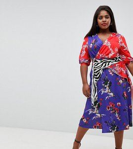 Read more about Asos design curve mixed print trophy dress - multi
