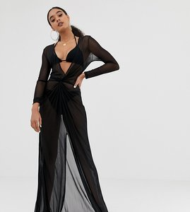 Read more about Missguided mesh plunge beach dress in black