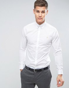 Read more about Farah slim smart shirt with collar bar - white