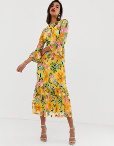 Read more about Asos edition embroidered and beaded midi dress with peplum hem