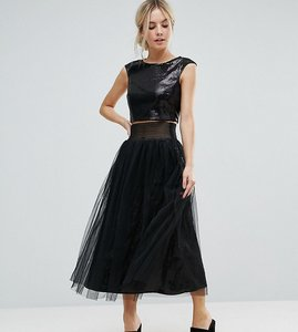 Read more about Little mistress petite allover sequin midi skirt with mesh tulle overlay - black
