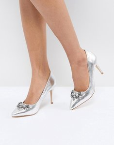 Read more about Oasis embellished pointed heeled shoe - silver