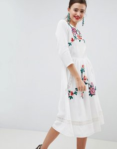 Read more about Asos design premium lace embroiderd midi dress with open back - cream