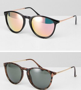 Read more about Asos 2 pack skinny keyhole retro round sunglasses in tortoise and black - tortoise and black