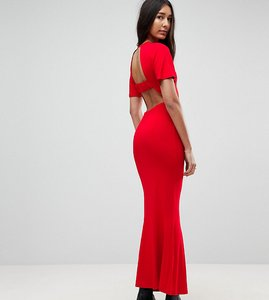 Read more about Asos tall maxi tea dress with open back detail - red