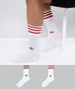 Read more about Adidas originals adicolor 2 pack crew socks in red ce5712 - red