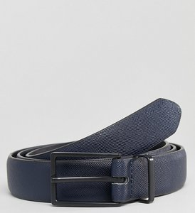 Read more about Asos plus smart slim faux leather belt in navy with black matte buckle - navy