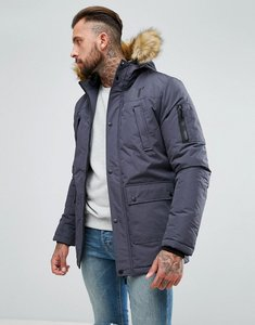 Read more about 11 degrees parka in grey with faux fur hood - grey