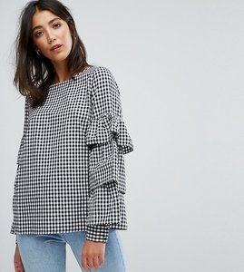 Read more about Vila frill sleeve gingham top - dark navy