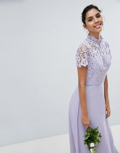 Read more about Chi chi london 2 in 1 high neck maxi dress with crochet lace - lavender grey