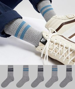 Read more about Asos sports style socks with blue stripes in grey 5 pack - grey