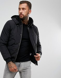 Read more about Yourturn hooded bomber jacket with borg lining - black